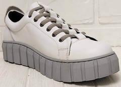 Белые кожаные кроссовки женские туфли на шнурках Guero G146 508 04 White Gray.
