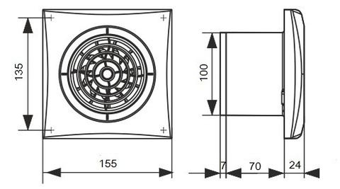 Накладной вентилятор Эра AURA 4C GRAY METAL D100 с обратным клапаном