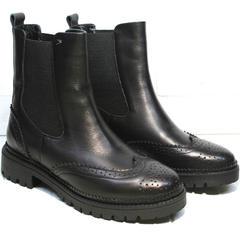Кожаные ботинки женские Jina 7113 Leather Black