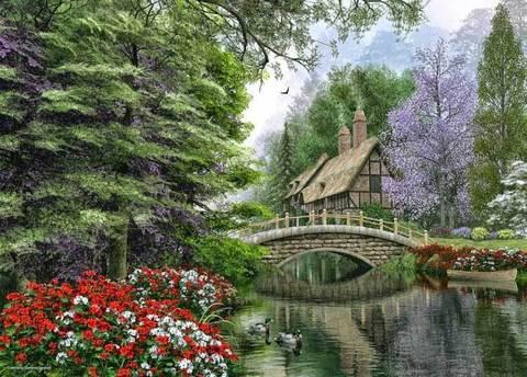 Алмазная Мозаика 30x40 Озеро в живописном месте