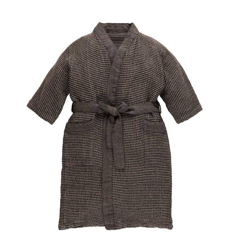 Халат для бани  детский RENTO Коричнево-серый вафельный
