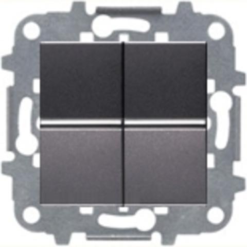 Выключатель двухклавишный. Цвет Антрацит. ABB Niessen Zenit. N2101 AN+N2101 AN+N2271.9