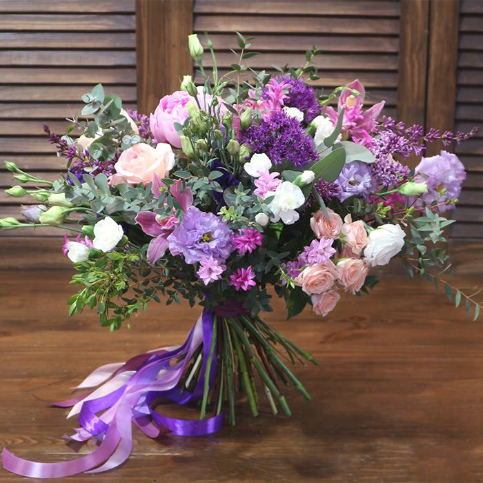 Букет невесты фиолетовый сиреневый раскидистый Пермь
