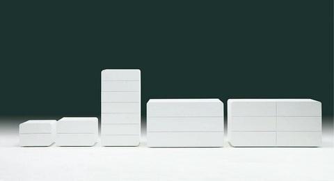 Тумба прикроватная для спальни RIBES 03.51 (L030 блест.белый) с 2 ящиками 60*44*42 см ПУСТОТА, Материал каркаса: МДФ окрашенный, Цвет каркаса: Блестящий белый L030