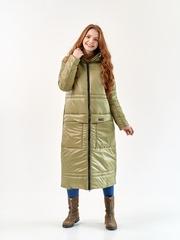 Женское пальто еврозима Макси оливка