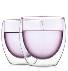 Стаканы с двойными стенками розового цвета стеклянные 250 мл набор 2 шт.