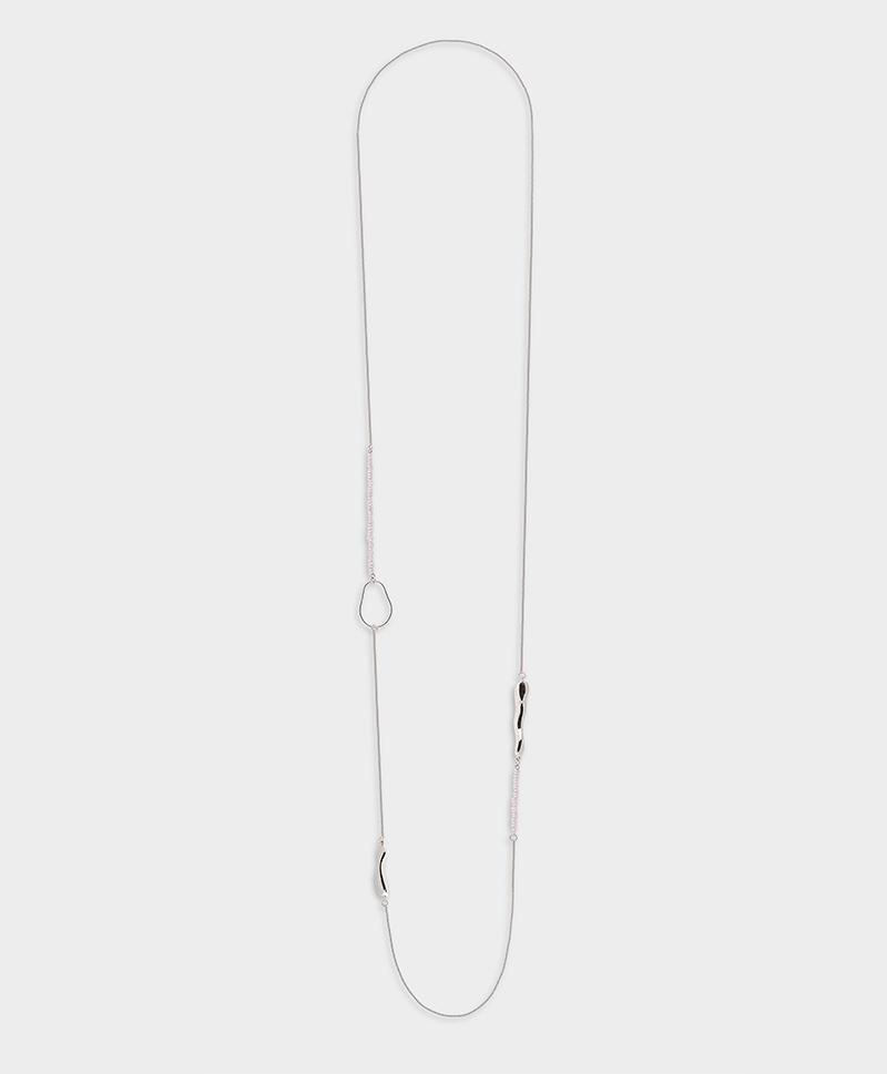 Серебряное колье с мелким белым жемчугом