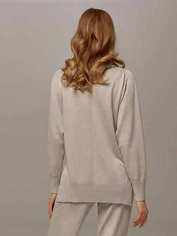 Женский джемпер цвета серый меланж из шелка и кашемира - фото 4