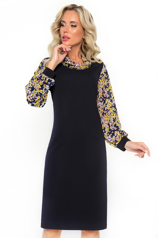 <p>Вау! Да Вы просто красотка в этом приталенном платье из мягкого трикотажа с пышными шифоновыми рукавами украсите любые офисные будни!</p>