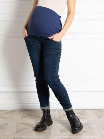 Джинсы МОМ для беременных на флисе цвет темно-синий