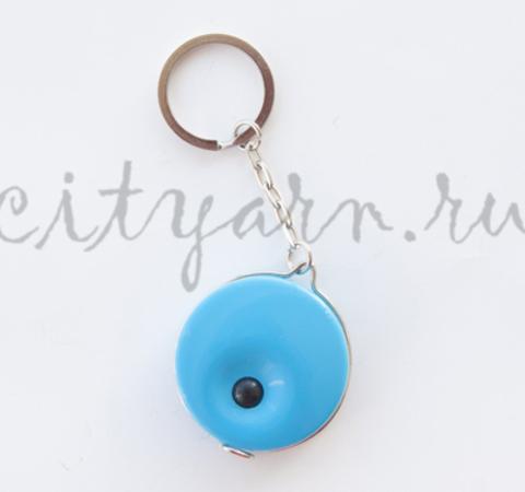 Рулетка-брелок с кнопкой, неоново-голубая, 140 см