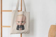 Сумка-шоппер с принтом Босс-молокосос (The Boss Baby) бежевая 009