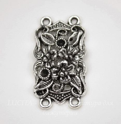 """Коннектор """"Цветы"""" (2-2) 36х19 мм (цвет - античное серебро)"""