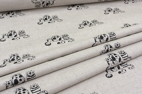 Льняная интерьерная ткань рисунок ВЕСЕЛЫЕ КОТЫ