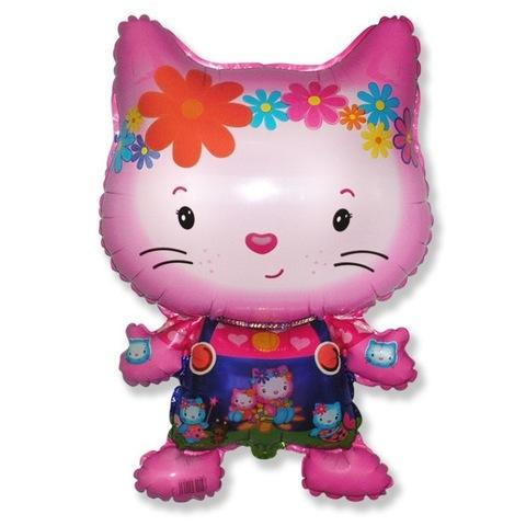 Шар-фигура Дружелюбный котенок розовый, 74 см