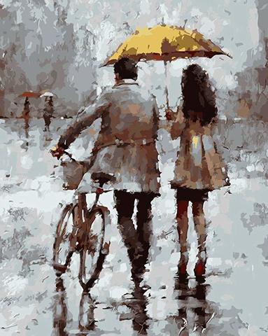 Картина раскраска по номерам 50x65 Прогулка с велосипедом и зонтом