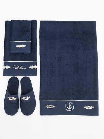 MARINE синий набор полотенец с тапочками TIVOLYO HOME Турция