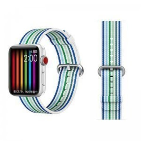 Ремешок COTEetCI W30 Nylon Rainbow Band (WH5251-WB-40) для Apple Watch 38мм/ 40мм Бело-Синий