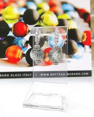 Серьги из муранского стекла со стразами Franchesca Medio Ca'D'oro Silver Black CC064OB