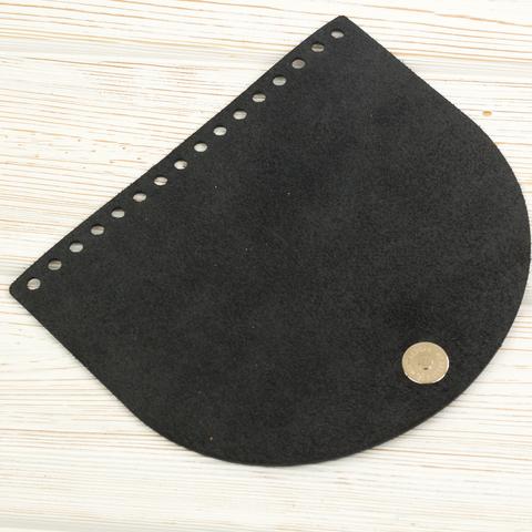 Клапан для сумочки с магнитной застежкой кожаный черный