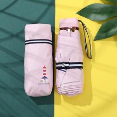 Зонт миниатюрный с защитой от УФ, 6 спиц, Япония, с принтом- Маяк (розовый)