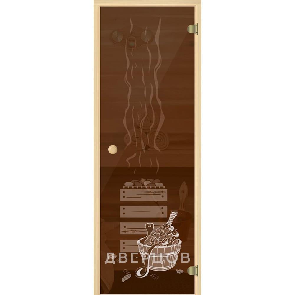 Двери для бани и сауны Дверь для сауны бронзовая с рисунком Банька ручка кноб Банька_М.jpg