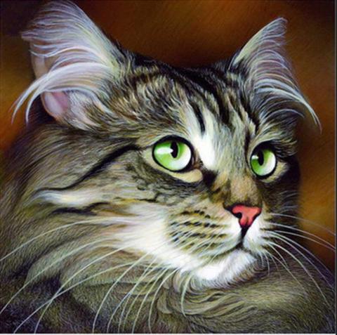 Алмазная Мозаика 30x40 Кот с зелеными глазами (арт. HZS290)