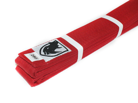 Пояс RHINO для кимоно карате. Цвет красный. Длина 2,80 м. Материал:  хлопок.