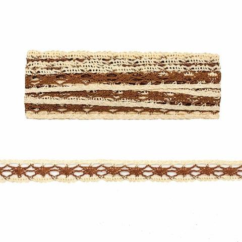 Кружево вязаное 2,54см*1м, Коричневое