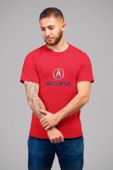 Мужская футболка с принтом Акура (Acura) красная 001