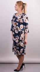 Олівія. Принтована сукня плюс сайз. Синій.