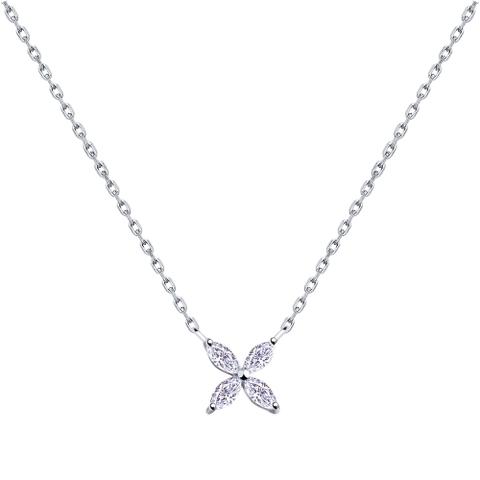 94070176 - Колье из серебра с фианитами огранки маркиз