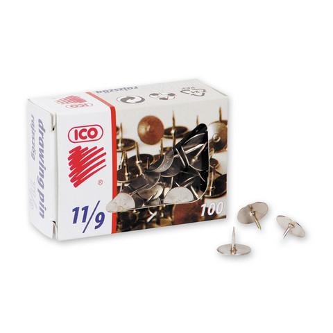 Кнопки канцелярские ICO металлические стальные (100 штук в упаковке)