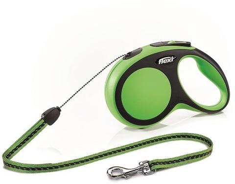 Flexi поводок-рулетка New Comfort S (до 12 кг) трос 8 м (черный/зеленый)