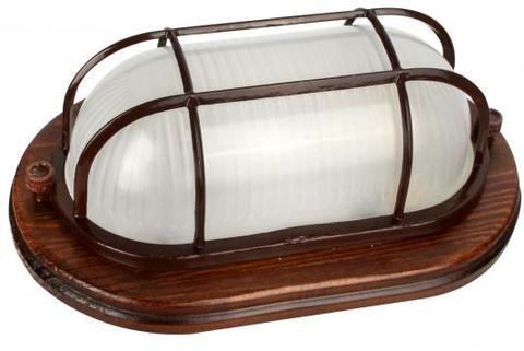 Влагозащищенный светильник Camelion 1401D орех (овальный с решеткой 60W)