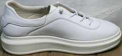 Женские кожаные кеды с белой подошвой Rozen M-520 All White.