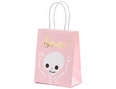 Пакет бумажный, BOO, Скелет на розовом, 18 см, 1 шт.