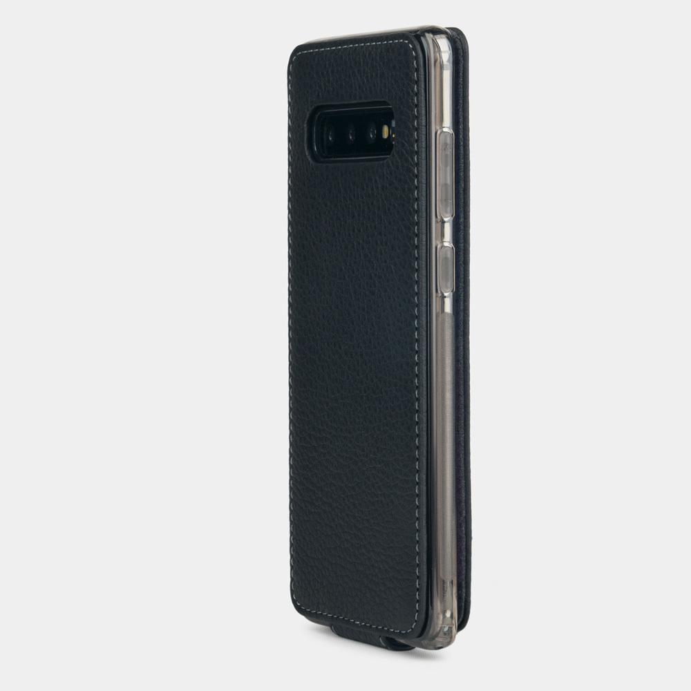 Чехол для Samsung Galaxy S10 Plus из натуральной кожи теленка, цвета черный мат