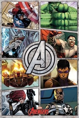 Постер Marvel Comics The Avengers Comic Panels