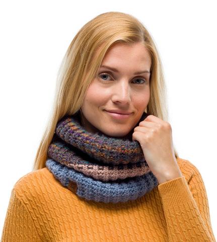 Вязаный шарф-труба с флисом Buff Neckwarmer Knitted Polar Alina Blue фото 2