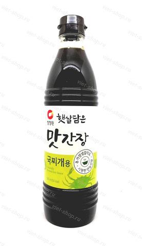 Корейский соевый соус для супов и тушеных блюд, со вкусом морепродуктов, Daesang, Корея, 840 мл.