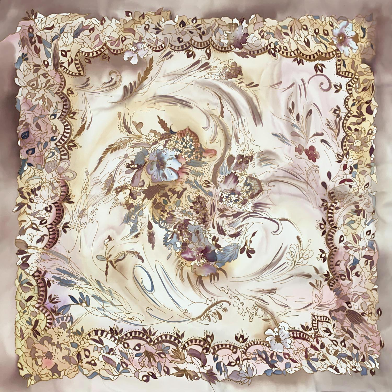 Шелковый платок батик Кружево