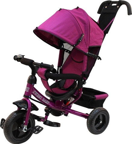 Детский трёхколёсный велосипед с ручкой (фиолетовый) Sweet baby - колёса EVA