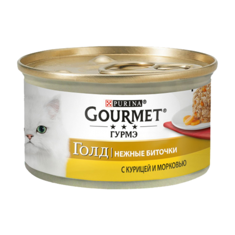 Gourmet Gold Консервы для кошек Нежные биточки с Курицей и морковью