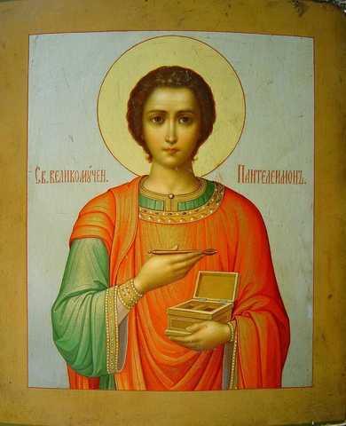 Икона святой Пантелеимон на дереве на левкасе мастерская Иконный Дом