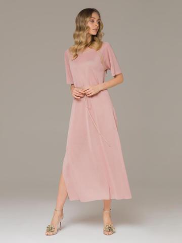 Женское платье розового цвета на поясе - фото 1