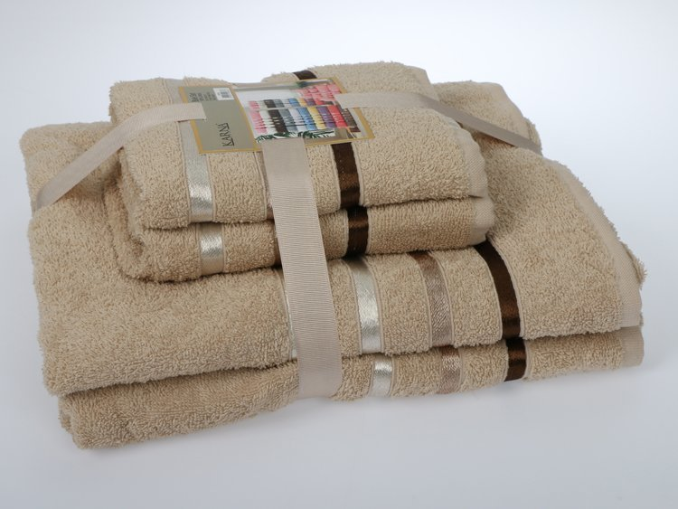 Комплект махровых полотенец КАРНА, бежевый