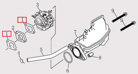 Прокладка карбюратора для лодочного мотора F9.8 Sea-PRO (6-1)