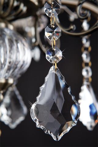 Люстра с хрусталем 3281/5 античная бронза / прозрачный хрусталь