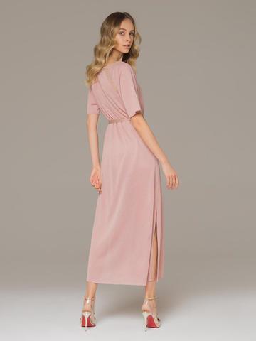 Женское платье розового цвета на поясе - фото 3